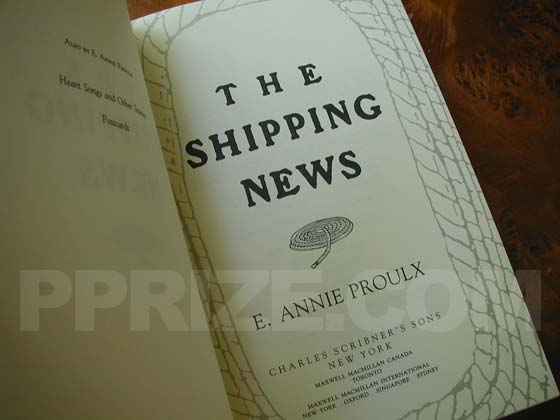 Picture of the first edition title page for The Shipping News.