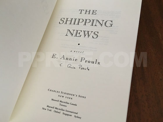 The title page from this advance excerpt was signed by E. Annie Proulx.