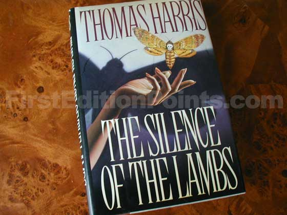 Picture of the 1988 first edition dust jacket for The Silence of the Lambs.