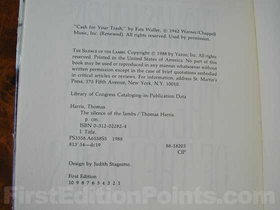 Picture of the first edition copyright page for The Silence of the Lambs.