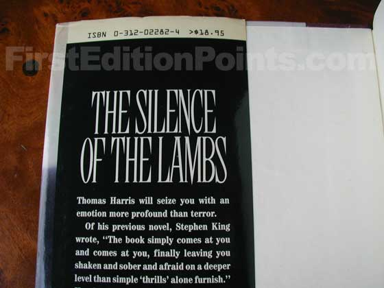 Picture of dust jacket where original $18.95 price is found for The Silence of the Lambs.