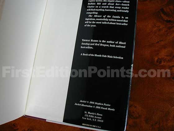 Picture of the back dust jacket flap for the first edition of The Silence of the Lambs.