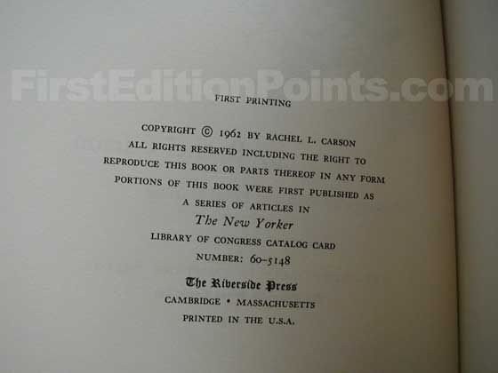 Picture of the first edition copyright page for Silent Spring.