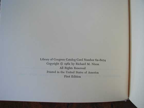 Picture of the first edition copyright page for Six Crises.