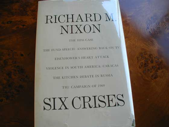 Picture of the back dust jacket for the first edition of Six Crises.