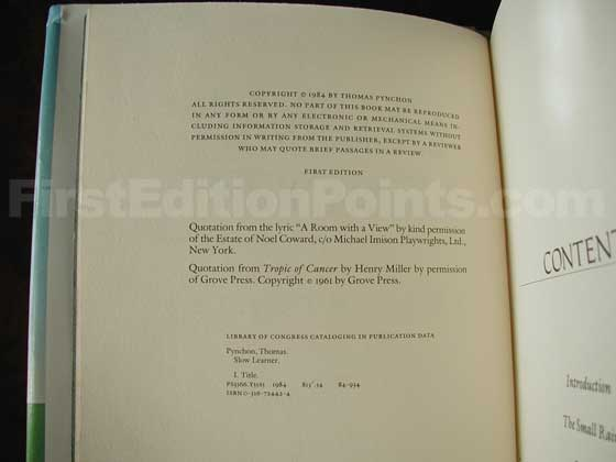 Picture of the first edition copyright page for Slow Learner.