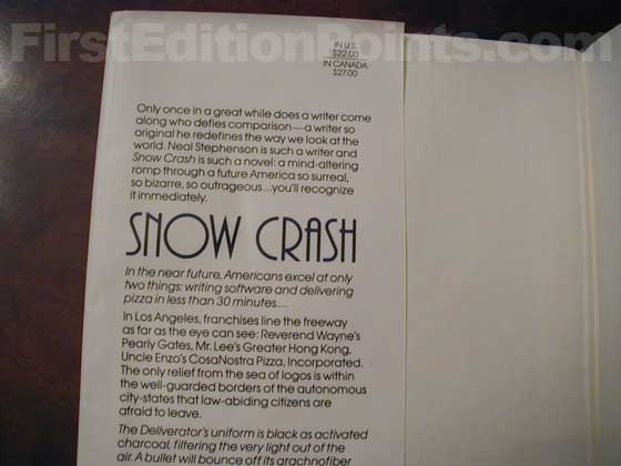 Picture of dust jacket where original $22.00 price is found for Snow Crash.