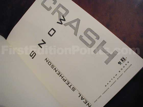 Picture of the first edition title page for Snow Crash.
