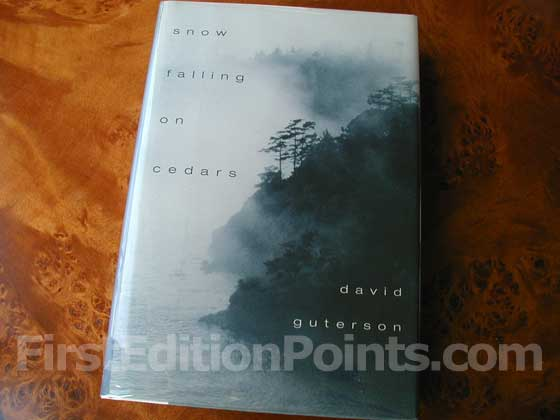 Picture of the 1994 first edition dust jacket for Snow Falling On Cedars.