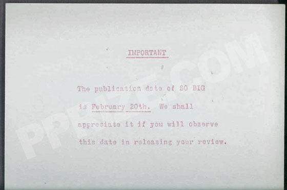This publisher card is from the advance issue.  It reads: The publication date of SO BIG