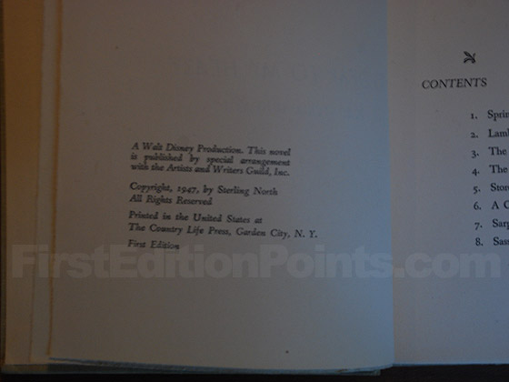 Picture of the first edition copyright page for So Dear to My Heart.
