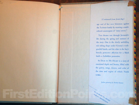 Picture of the back dust jacket flap for the first edition of So Dear to My Heart.