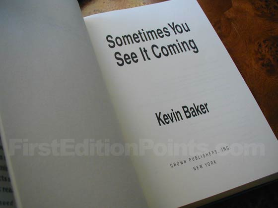 Picture of the first edition title page for Sometimes You See It Coming.