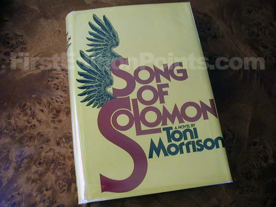 Picture of the 1977 first edition dust jacket for Song of Solomon.