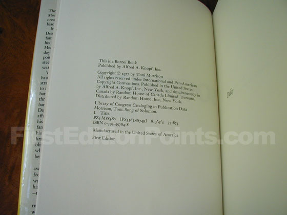 Picture of the first edition copyright page for Song of Solomon.