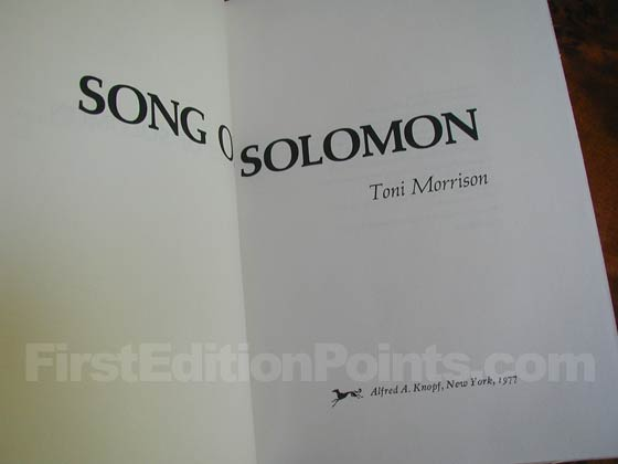 Picture of the first edition title page for Song of Solomon.