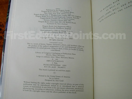 Picture of the first edition copyright page for Songs in Ordinary Time.