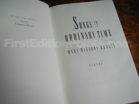 Picture of the first edition title page for Songs in Ordinary Time.