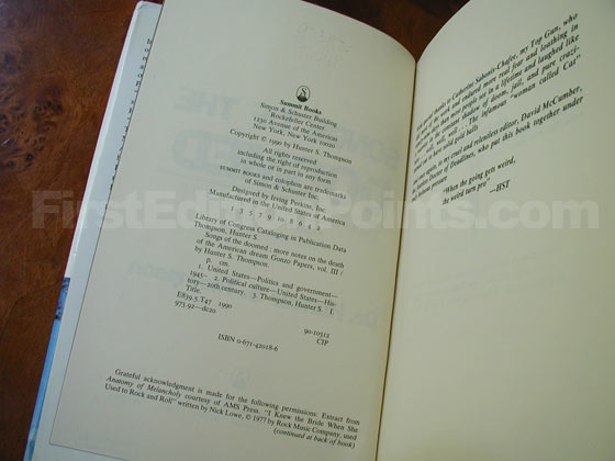 Picture of the first edition copyright page for Songs of the Doomed.
