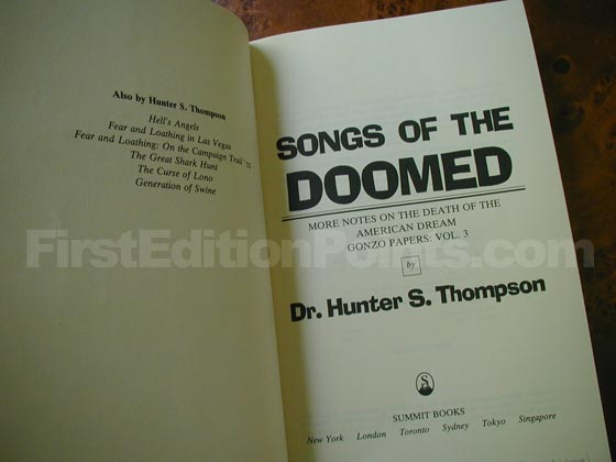 Picture of the first edition title page for Songs of the Doomed.