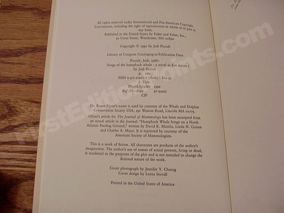 Picture of the first edition copyright page for Songs of the Humpback Whale.