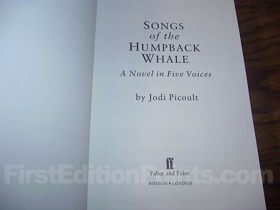 Picture of the first edition title page for Songs of the Humpback Whale.