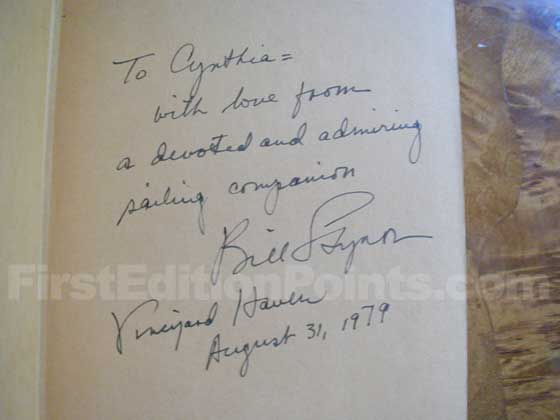 "William Styron signed this first trade edition of Sophie's Choice as ""Bill Sty"