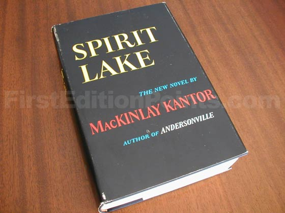 Picture of the 1961 first edition dust jacket for Spirit Lake.