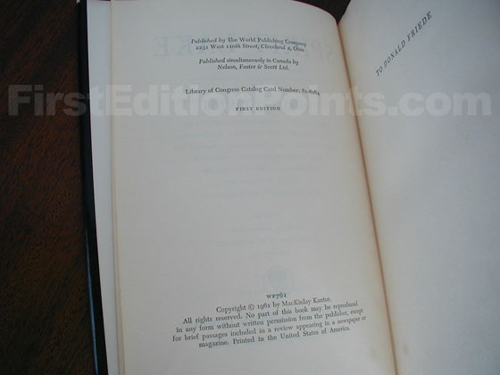Picture of the first edition copyright page for Spirit Lake.