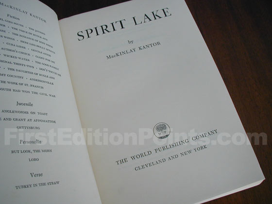 Picture of the first edition title page for Spirit Lake.