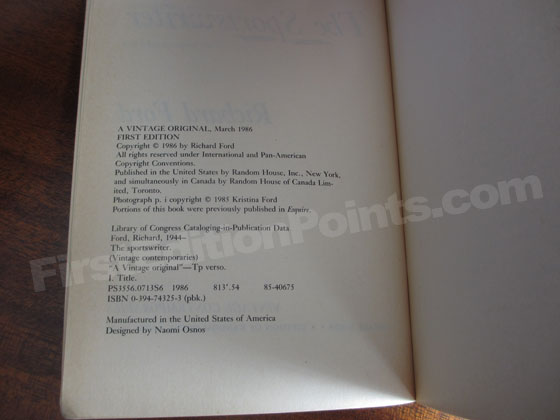 Picture of the first edition copyright page for The Sportswriter.