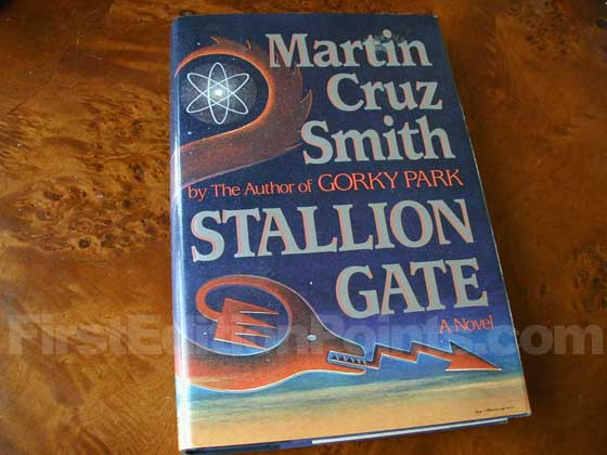 Picture of the 1986 first edition dust jacket for Stallion Gate.