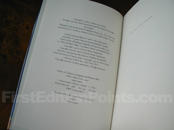 Picture of the first edition copyright page for Stallion Gate.