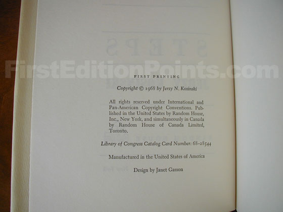 Picture of the first edition copyright page for Steps.