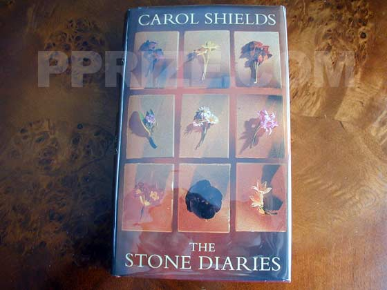 Picture of the 1993 UK first edition dust jacket for The Stone Diaries.