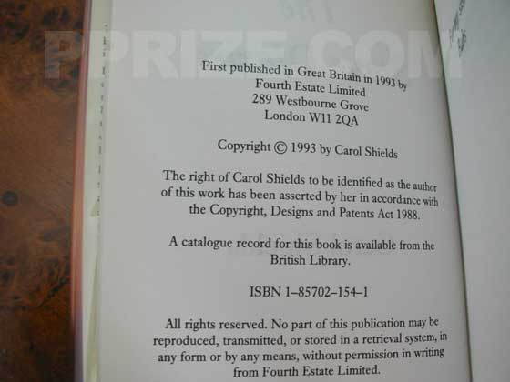 This is the copyright page from the UK first edition of The Stone Diaries.