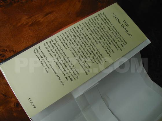 This is the front flap from the UK first edition dust jacket.