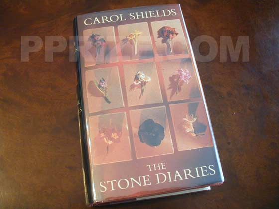 Picture of the 1993 Canadian first edition dust jacket for The Stone Diaries.