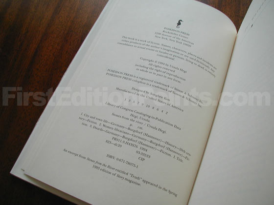 Picture of the first edition copyright page for Stones from the River.