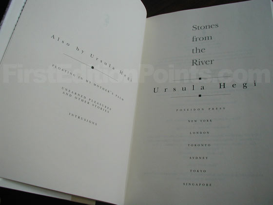 Picture of the first edition title page for Stones from the River.