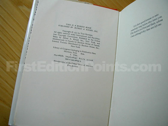 Picture of the first edition copyright page for Sula.