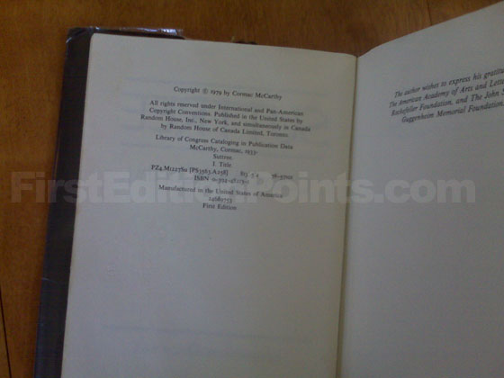 Picture of the first edition copyright page for Suttree.