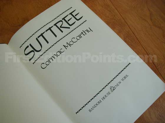 Picture of the first edition title page for Suttree.