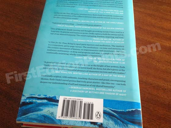 Picture of the back dust jacket for the first edition of A Tale for the Time Being.