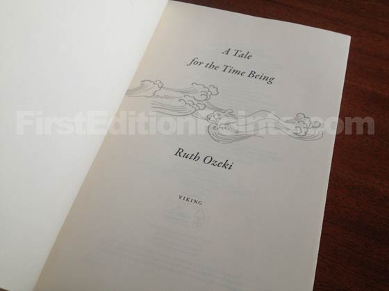 Picture of the first edition title page for A Tale for the Time Being.
