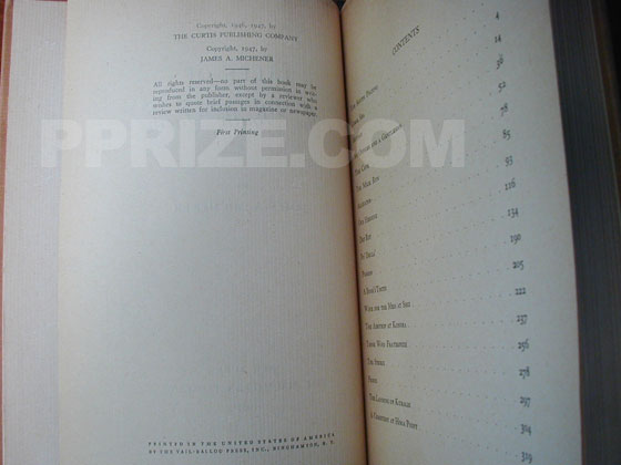 Picture of the first edition copyright page for Tales of the South Pacific.