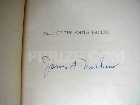 Signature of James A. Michener from the signature page of the special autographed limited