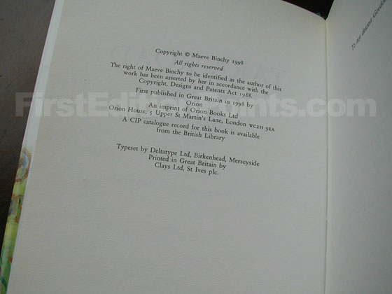 Picture of the first edition copyright page for Tara Road.