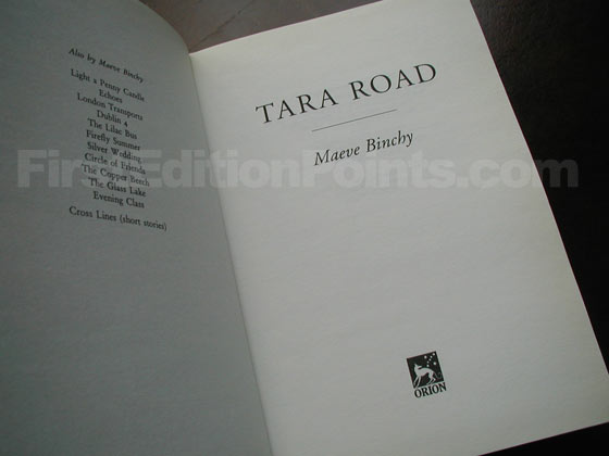 Picture of the first edition title page for Tara Road.