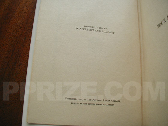 Picture of the first edition copyright page for The Age of Innocence.